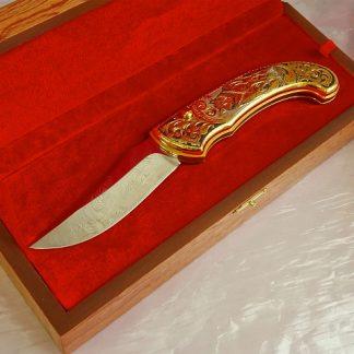 """Нож складной дамасский """"Волк"""""""